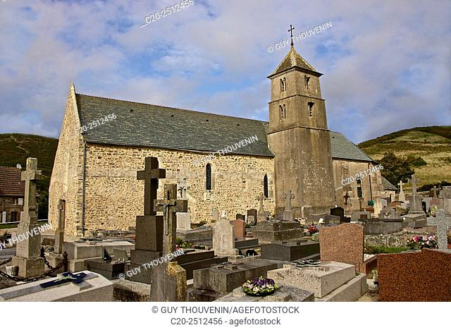 Vauville church ( 12th c. ), and churchyard, Vauville gardens, Vaudeville, Cotentin, Normandy, France