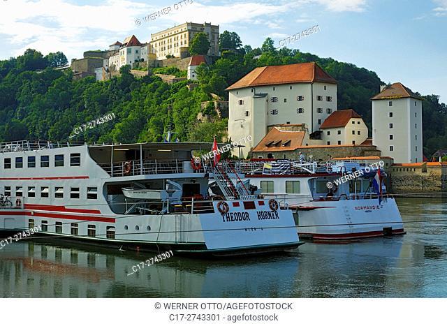 Germany, Bavaria, Eastern Bavaria, Lower Bavaria, Passau, Danube, Inn, Ilz, Veste Oberhaus with Oberhaus Museum on the Georgsberg mountain and Niederhaus Castle