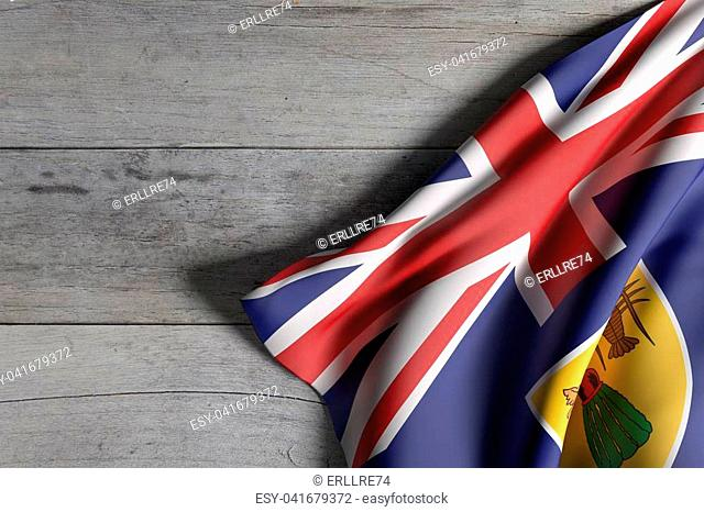 3d rendering of Turks and Caicos Islands flag over a wooden surface