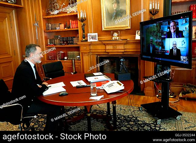 King Felipe VI of Spain attends a videoconference with pig producers, the main livestock sector in Spain, the first European producer and the third in the world...