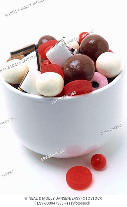 Assorted candy with chocolate and white malt balls