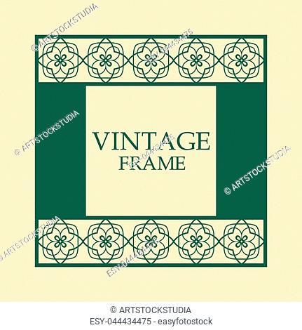 Vector vintage border frame with retro ornament pattern. Decorative design