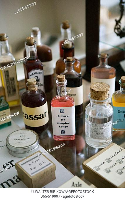 Living History Farms Museum. Shafer Drugstore, medicines. Des Moines. Iowa. USA