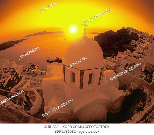 CHURCH DOME PHIRA SANTORINI ISLAND CYCLADES AEGEAN SEA GREECE