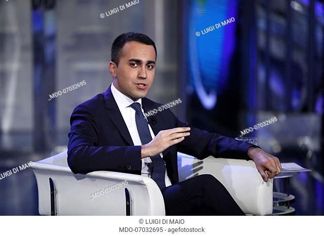 The Minister of Economic Development of the Italian Republic Luigi Di Maio guests of the television show Porta a Porta. Rome (Italy), April 10th, 2019