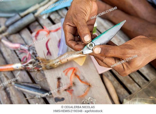 Indonesia, Lesser Sunda Islands, Alor archipelago, Pantar Island, Kabir, plastic baits from recycling for kite fishing
