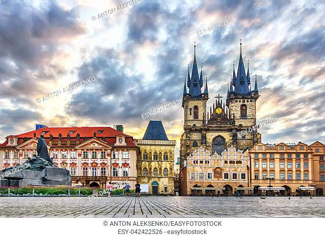 Old Town Square with Jan Hus Memorial, Kinsky Palace, the Church of Our Lady before Tyn and the Stone Bell House in Prague