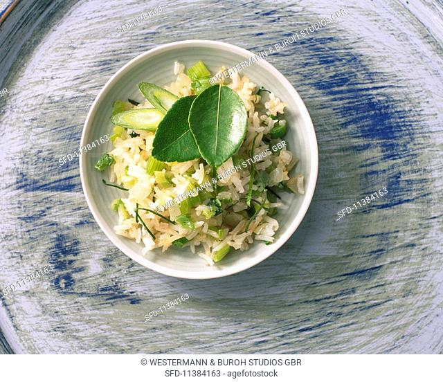 Oriental vegetable rice with kaffir lime leaves