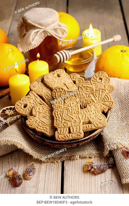Bowl of speculaas biscuits. Festive dessert