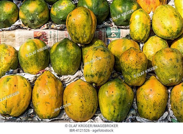 Pawpaw on newsprint, fruit stall, Mattancherry, Kochi, Cochin, Kerala, India