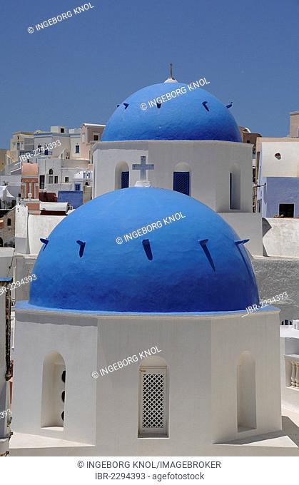 Domes, churches, Fira, Santorini, volcanic island, Greece, Europe, PublicGround