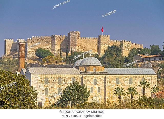 Ayasuluk Castle Behind Isabey Mosque Selcuk Ephesus Turkey