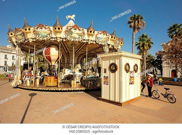 Merry-go-round, Christmas season, Alicante, Valencian Community, Spain