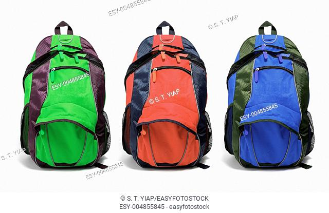Backpacks on Isolated White Background