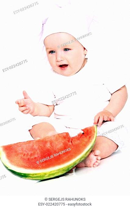 Happy Baby cook eating watermelon