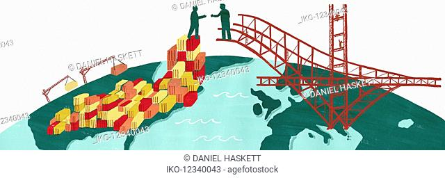 Businessmen bridging the gap between United States and Europe and shaking hands on trading links
