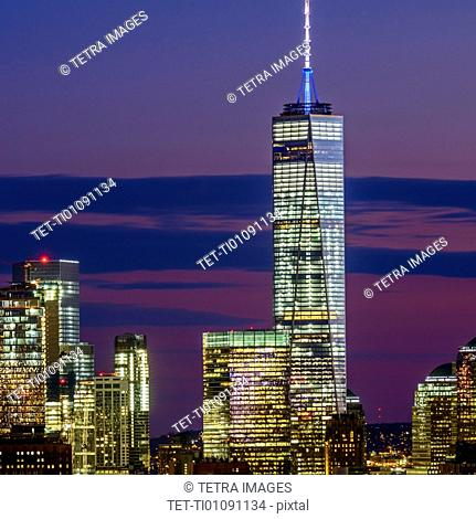 Skyline of New York at dusk with view of One World Trade Center