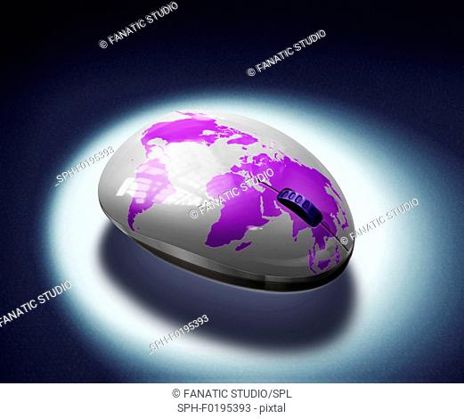 Illustration of mouse with globe