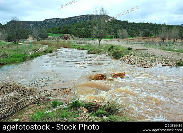 Ther river Ablanquejo overflooded. The Alto Tajo Natural Park. Huertahernando town, Guadalajara province, Spain