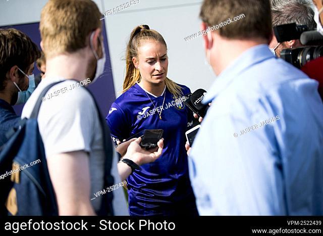 Anderlecht new player Tessa Wullaert talks to the press after a press conference of RSC Anderlecht Women to present their latest transfer