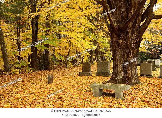 Cemetery in Kensington during the autumn months  Located in Kensington, New Hampshire USA, which is part of scenic New England