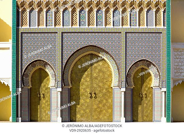 Dar El Makhzen Royal Palace from Place des Alaouites with brass doors, modern city of Fez, Fes el Bali. Morocco, Maghreb North Africa
