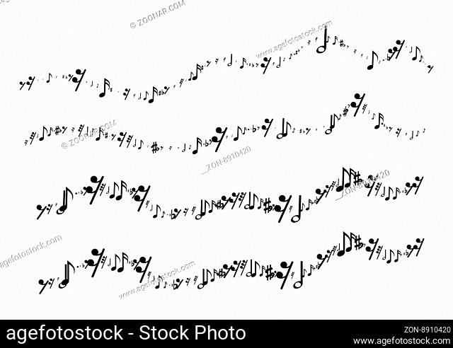Musical notes in the form of a wavy line. Vector illustration on white background