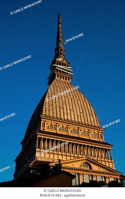 The Mole Antonelliana, 167 meters high, now housing the Museo Nazionale del Cinema, a major landmark building in Turin, Piedmont, Italy, Europe