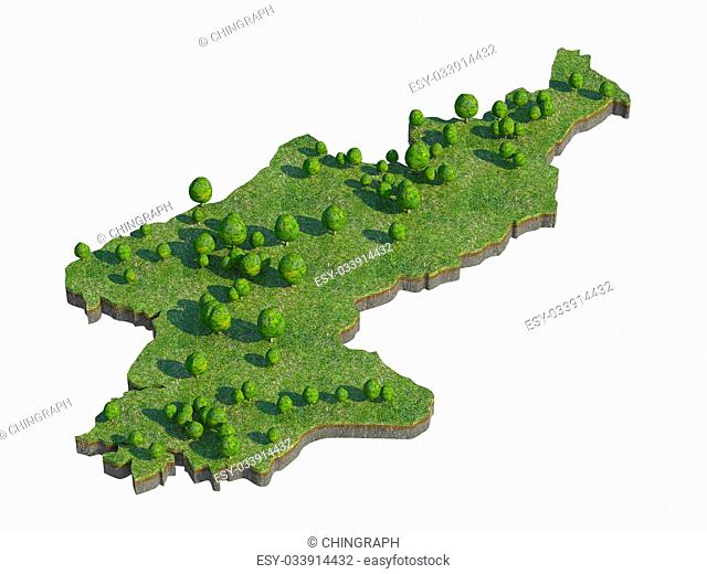 3d render of North Korea map section cut isolated on white with clipping path