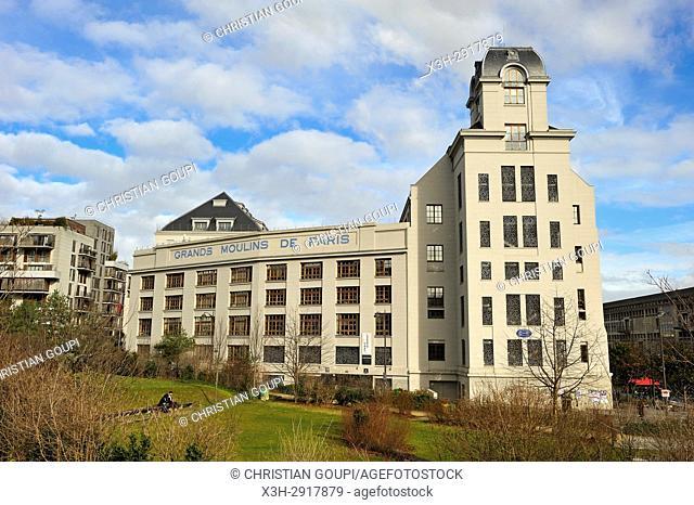 The Great Mills of Paris (Grands Moulins de Paris) a former industrial flourmills, renovated by architect Rudy Ricciotti