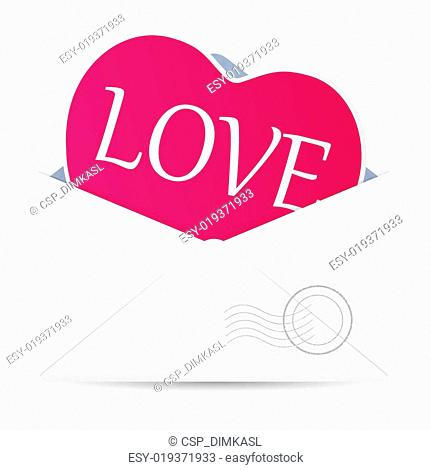 Open envelope with hearts. Vector illustration