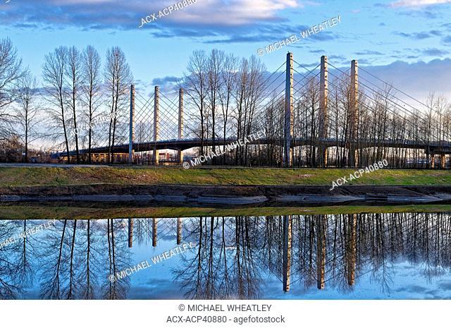 Pitt River bridge, Pitt River Intertidal habitat, Port Coquitlam, British Columbia, Canada