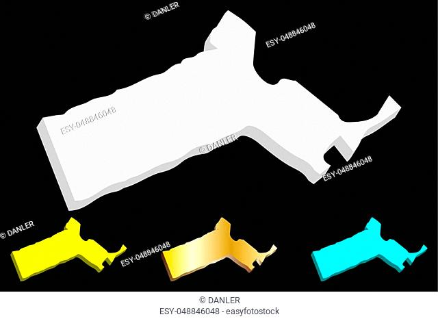 3D map of Massachusetts (United States of America, Commonwealth of Massachusetts) - white, yellow, blue and gold - vector illustration