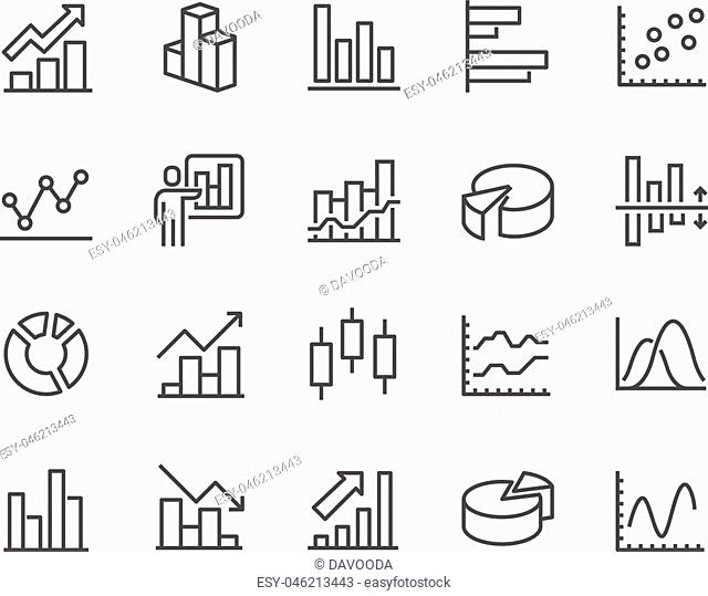 Simple Set of Graph Related Vector Line Icons. Contains such Icons as Pie Chart, Graphic, Statistics, Column Chart and more. Editable Stroke