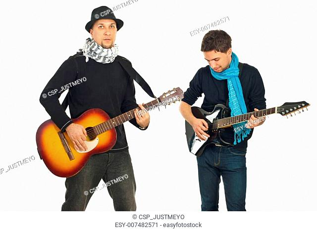 Two handsome guys with guitars