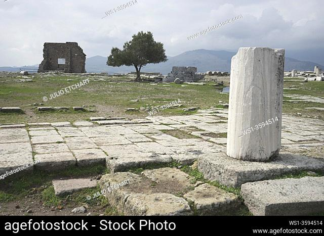 Ruins of the ancient Greek and Roman era city of Pergamon, with temples, statues and Acropolis located near Bergama in Turkey