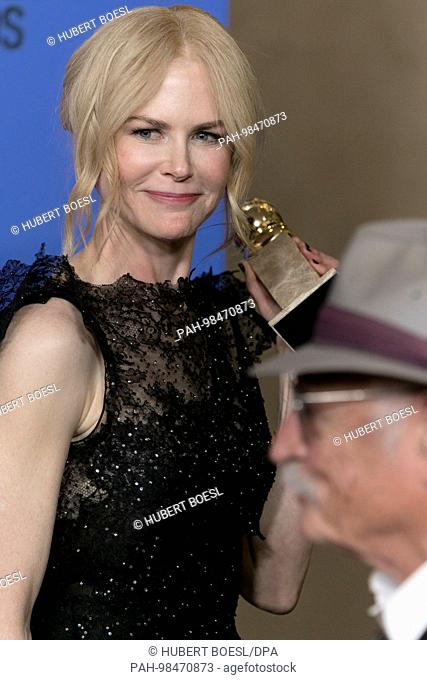 Nicole Kidman poses in the press room of the 75th Annual Golden Globe Awards, Golden Globes, at Hotel Beverly Hilton in Beverly Hills, Los Angeles, USA