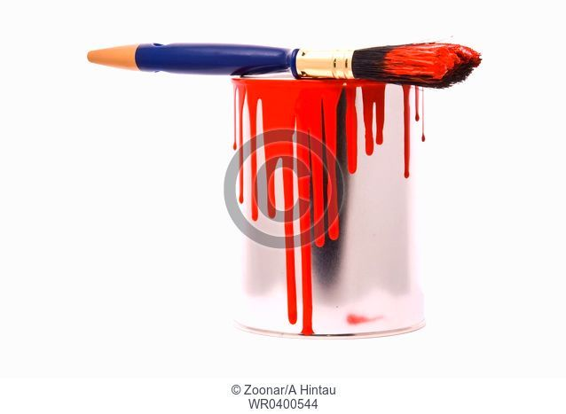 Can of red paint and professional brush on a white
