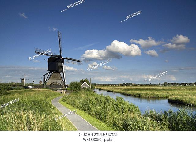 Museum windmill Blokweer is one of the worldfamous windmills from Kinderdijk and part of the Unesco heritage site close to the city of Rotterdam