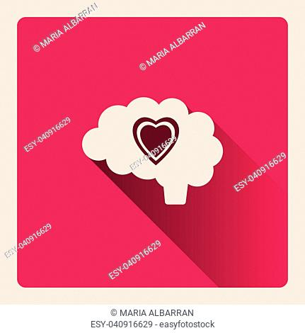 Brain thinking in love illustration on red square background with shade