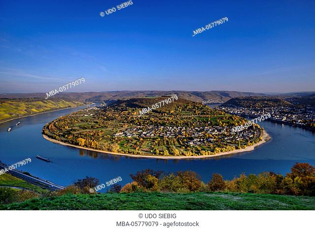 Germany, Rhineland-Palatinate, upper Middle Rhine Valley, Boppard, Rhine loop, Bopparder Hamm, townscape Filsen and Boppard, view from the Gedeonseck