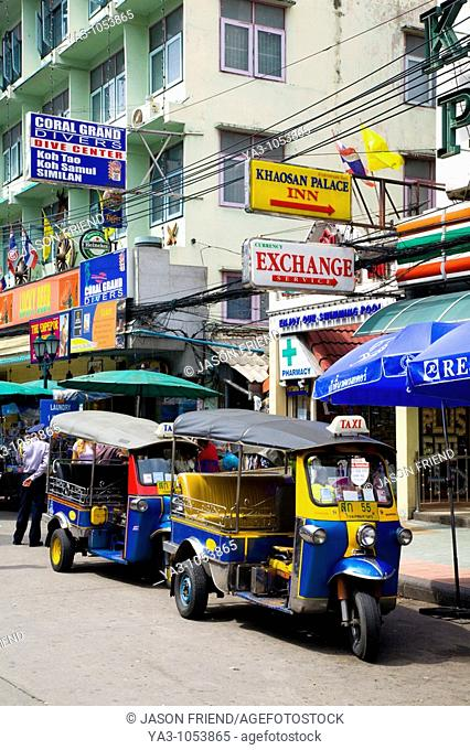 Tut-Tut, a small three wheeled motor taxi, located in the infamous Khao San Road