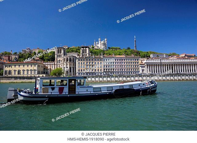 France, Rhone, Lyon, historical site listed as World Heritage by UNESCO,district Cordeliers, barge on the Saone, the Cathedral Saint Jean
