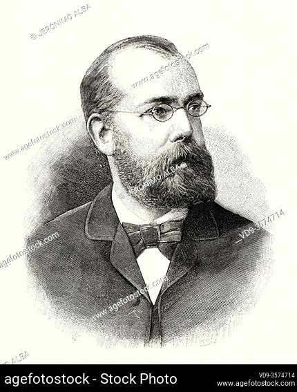Portrait of Robert Heinrich Hermann Koch (1843 - 1910) German physician and microbiologist. Famous for discovering the tuberculosis bacillus in 1882
