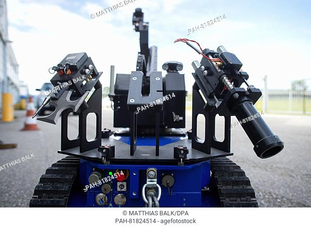 A pin to destroy glass (l-r), a cutting tool and a fireing mechanism are part of a radio control manipulator of the defusors of the federal police at the...