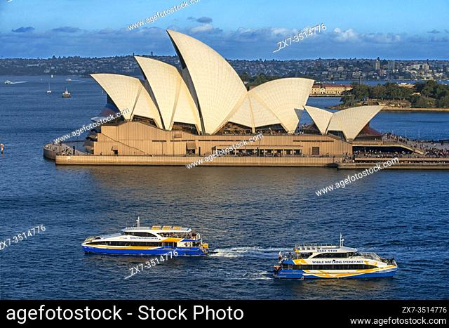 Sydney Opera House and public ferry and whale watching boats, Sydney, New South Wales, Australia