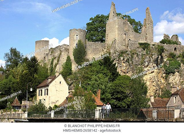 France, Vienne, Angles sur l'Anglin, labeled the most beautiful villages in France, castle from the 12th century
