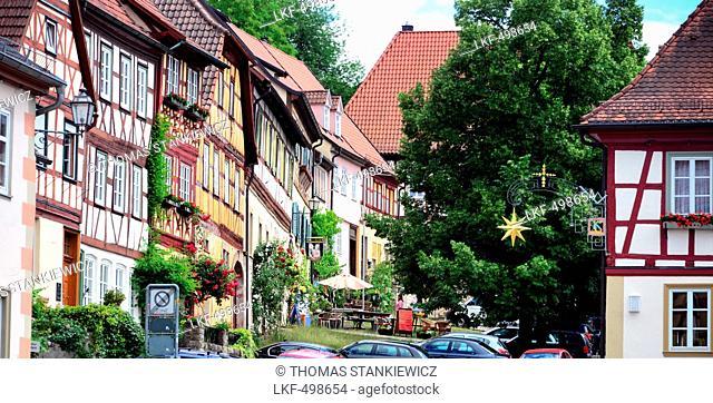Timber frame houses in Koenigsberg, Hassberge, Lower Franconia, Bavaria, Germany