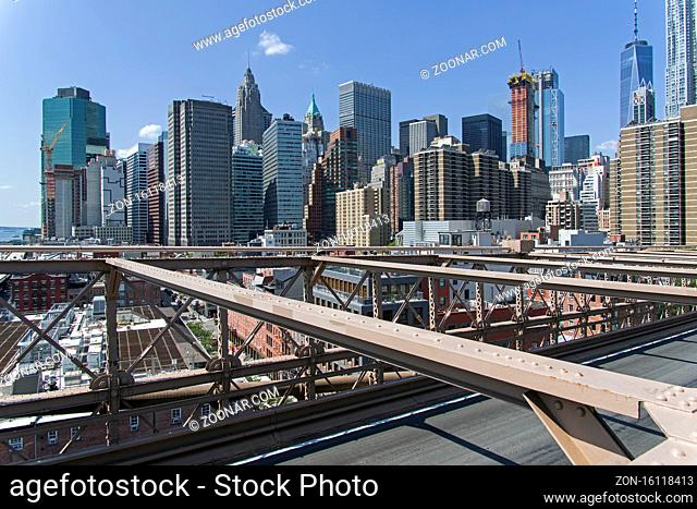 Manhattan, New York. View from the Brooklyn Bridge to the Financial, Distric of New York. Sunny summer day