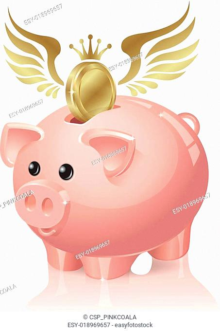 Piggy bank with coins flying